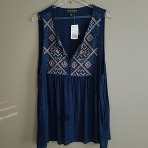 Forever 21 Embroidered Boho Tank - NWT - 2X